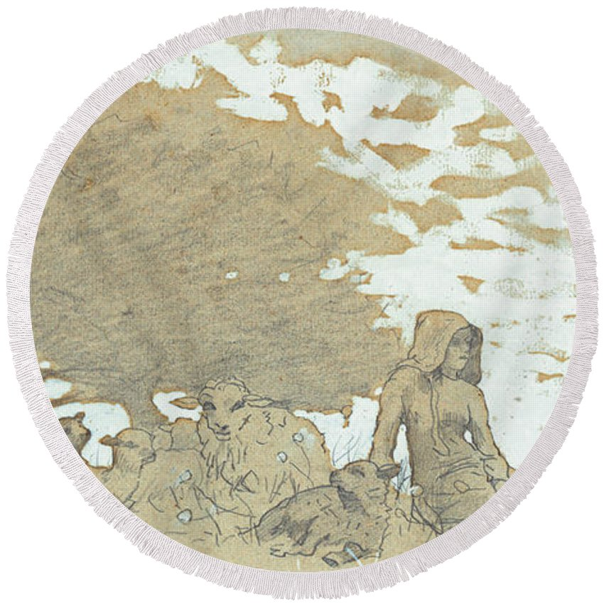 A Shepherdess Round Beach Towel featuring the painting A Shepherdess by Winslow Homer