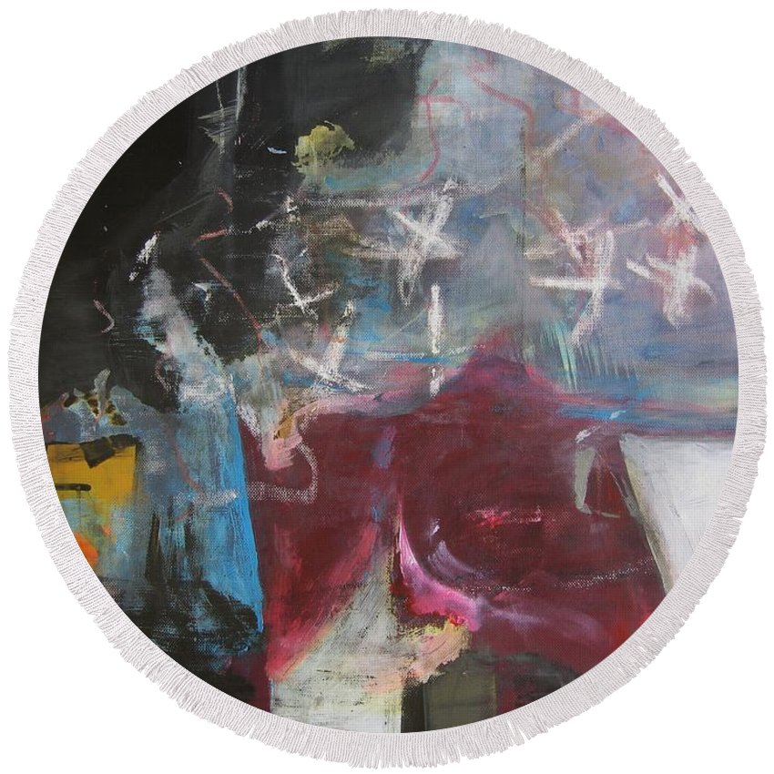 Abstract Paintings Round Beach Towel featuring the painting A Short Story by Seon-Jeong Kim