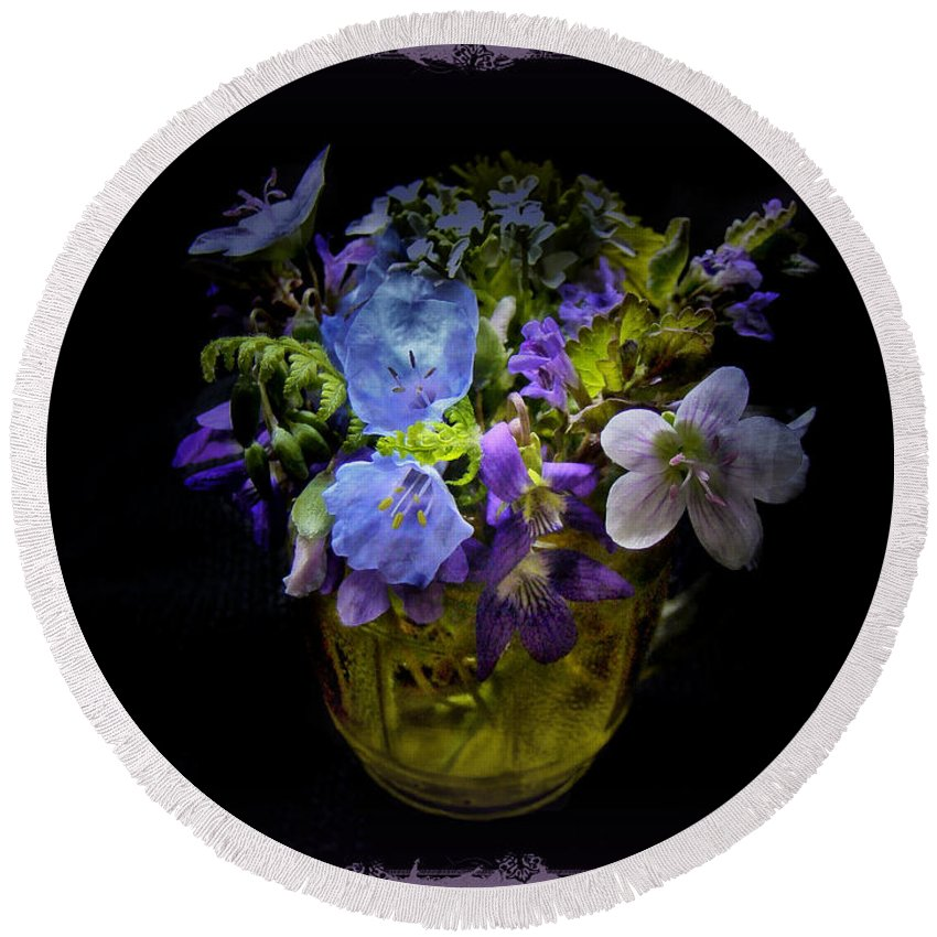 Wildflowers Round Beach Towel featuring the photograph A Shot Of Springtime Wildflowers by Mother Nature