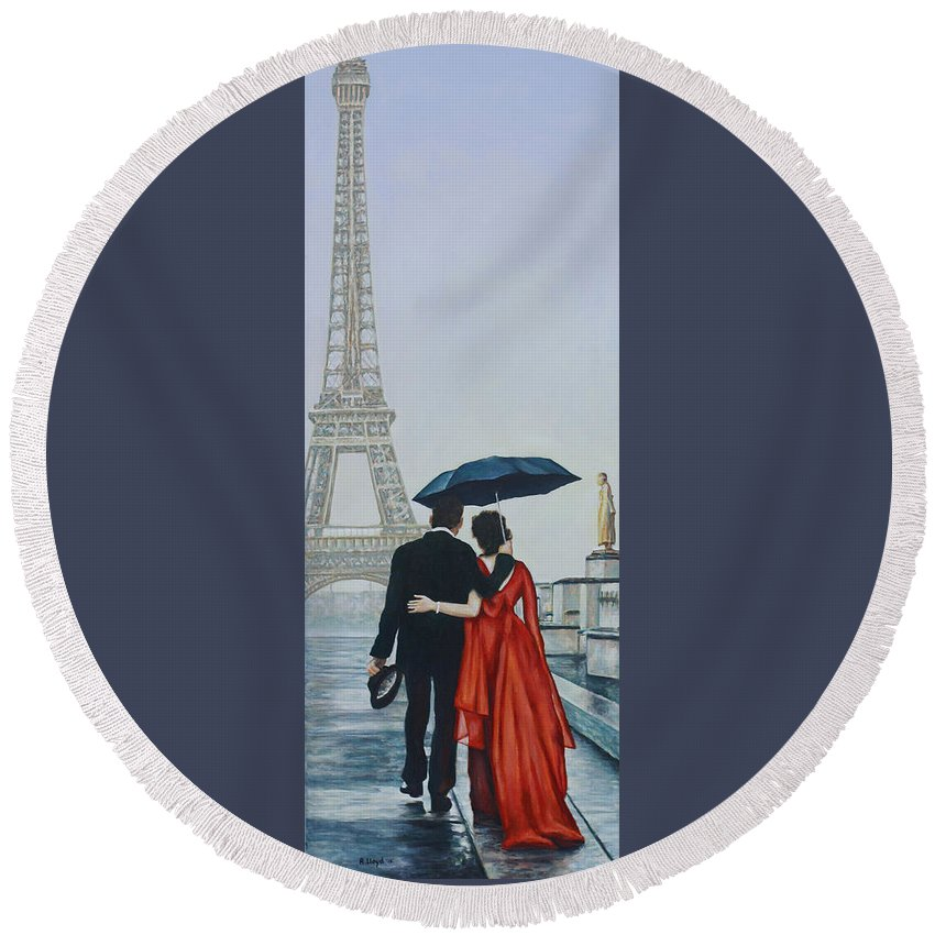 Eiffel Tower Trocadero Paris Couple Umbrella Ballgown Round Beach Towel featuring the painting A Shower At The Trocadero by Andy Lloyd