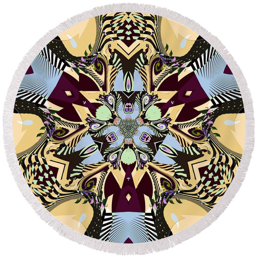 Abstract Round Beach Towel featuring the digital art A Sign Of The Times by Jim Pavelle
