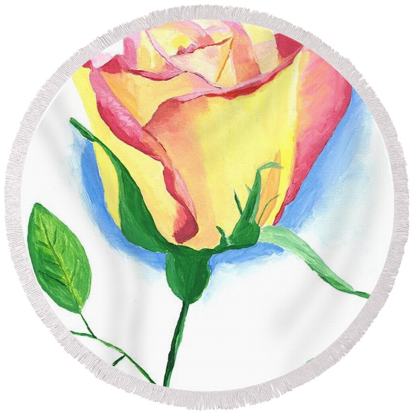 Rose Round Beach Towel featuring the painting A Single Rose by Rodney Campbell