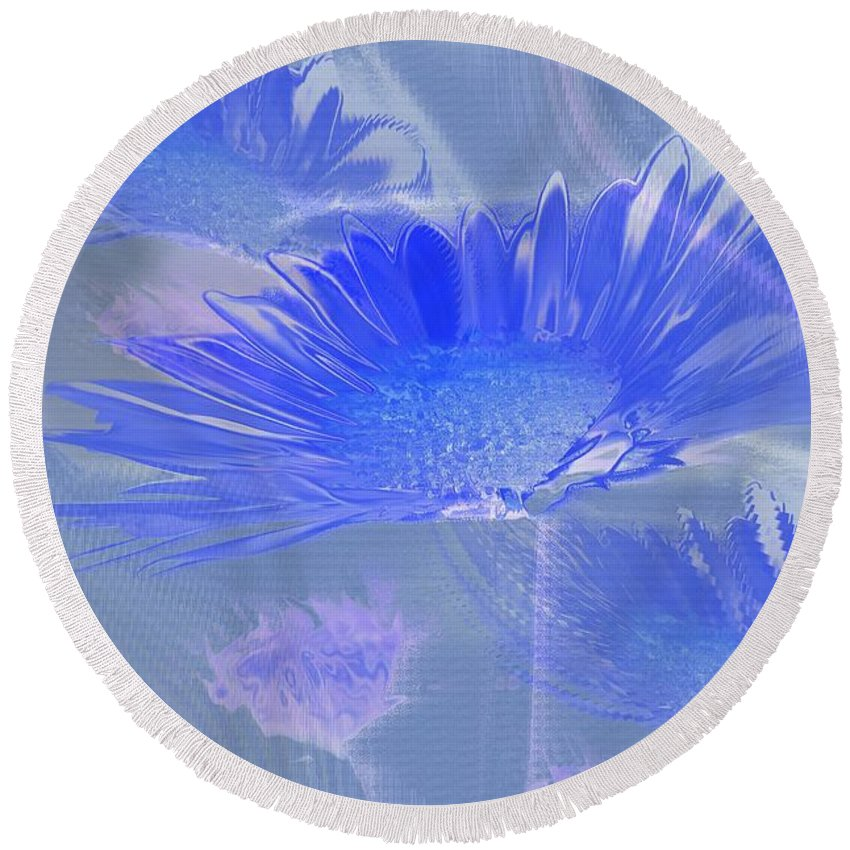 Abstract Round Beach Towel featuring the photograph A Slanting Blue Wind by Jeff Swan