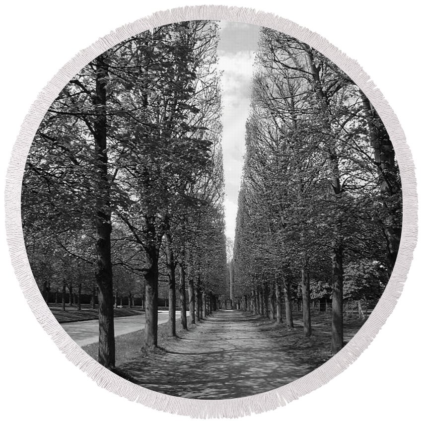 Trees Round Beach Towel featuring the photograph A Slice Of The Sky by Tom Reynen