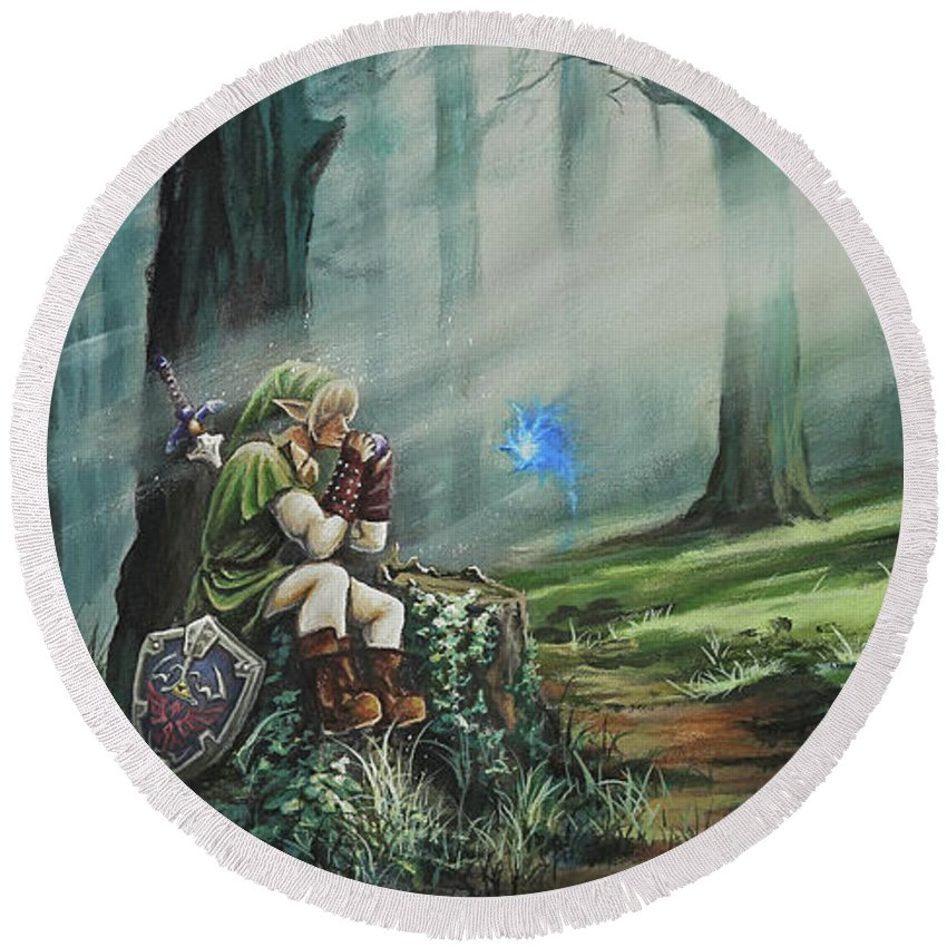 Landscape Round Beach Towel featuring the painting A Song For Navi by Joe Mandrick