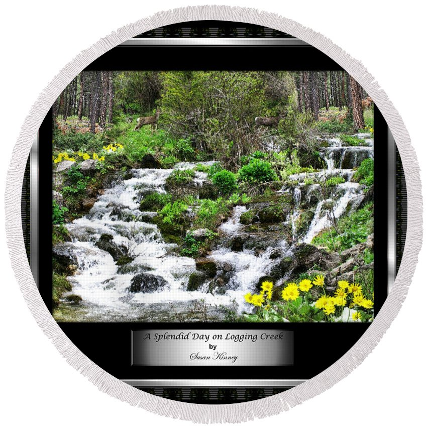 Photography/photo Collage Round Beach Towel featuring the photograph A Splendid Day On Logging Creek by Susan Kinney