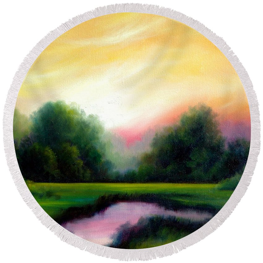 Clouds Round Beach Towel featuring the painting A Spring Evening by James Christopher Hill