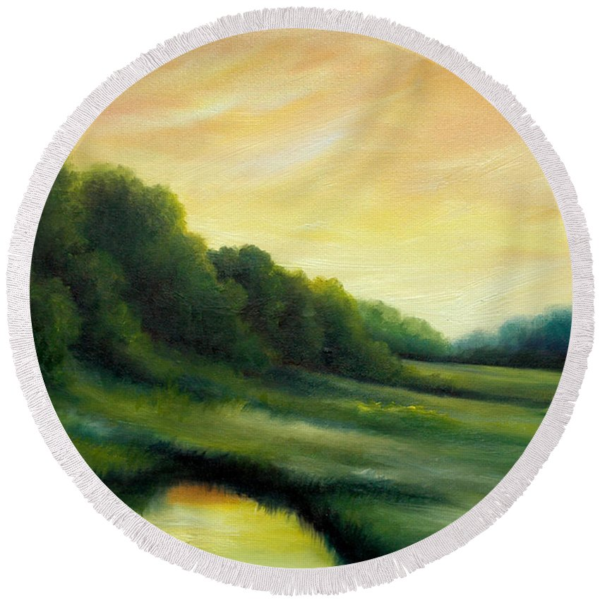 Clouds Round Beach Towel featuring the painting A Spring Evening Part Two by James Christopher Hill