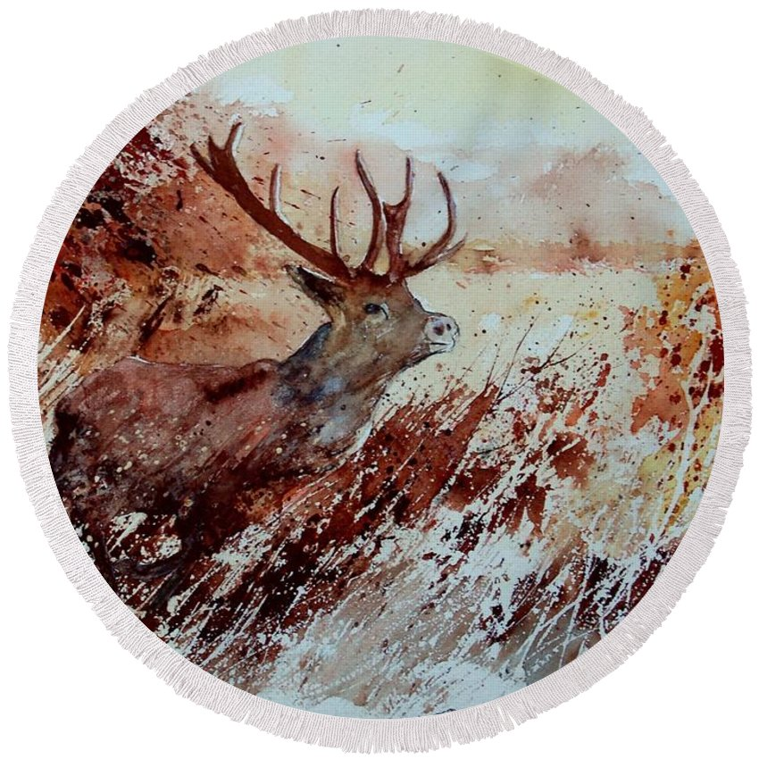 Animal Round Beach Towel featuring the painting A Stag by Pol Ledent