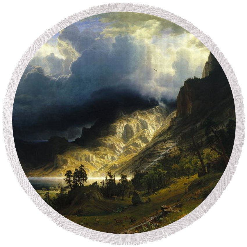 Bierstadt Round Beach Towel featuring the painting A Storm In The Rocky Mountains Mt. Rosalie, 1866 by Albert Bierstadt