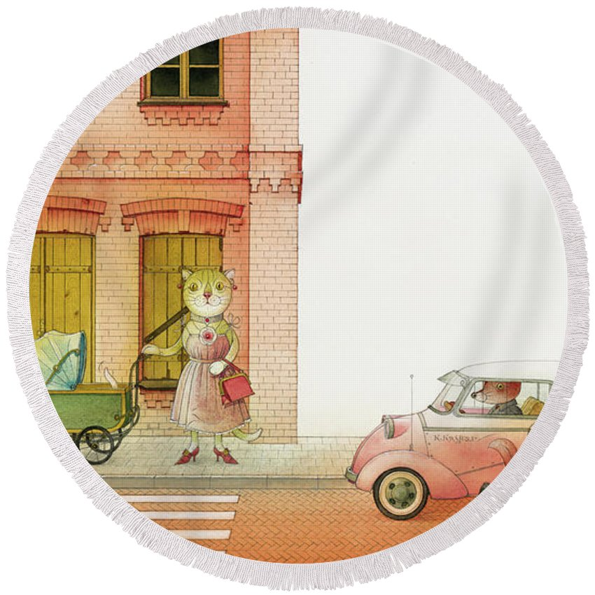 Striped Zebra Cat Cars Street Traffic Old Town Red Children Illustration Book Animals Round Beach Towel featuring the drawing A Striped Story02 by Kestutis Kasparavicius