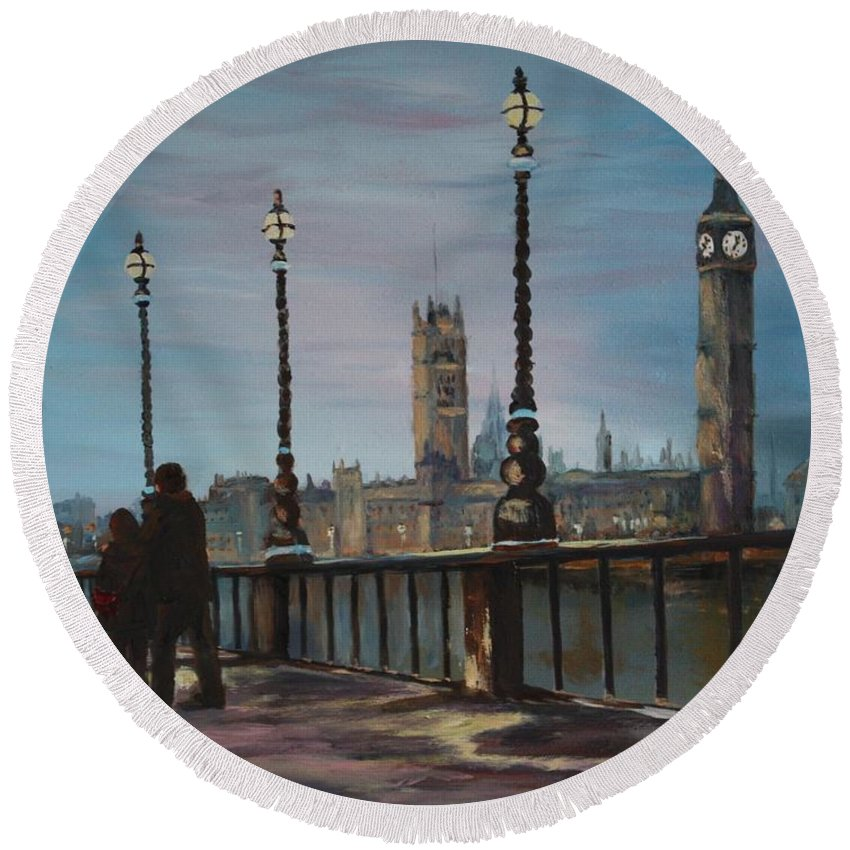 London Round Beach Towel featuring the painting An Evening Stroll Along The Thames by Jean Walker