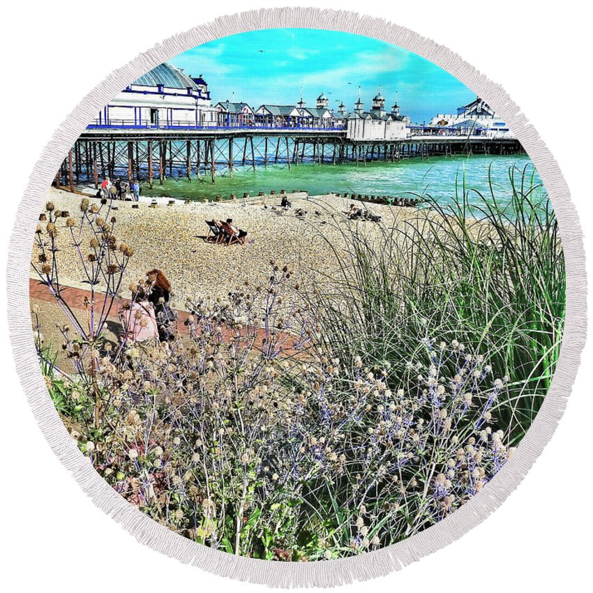 Connie Handscomb Round Beach Towel featuring the photograph A Stroll At The Seaside by Connie Handscomb