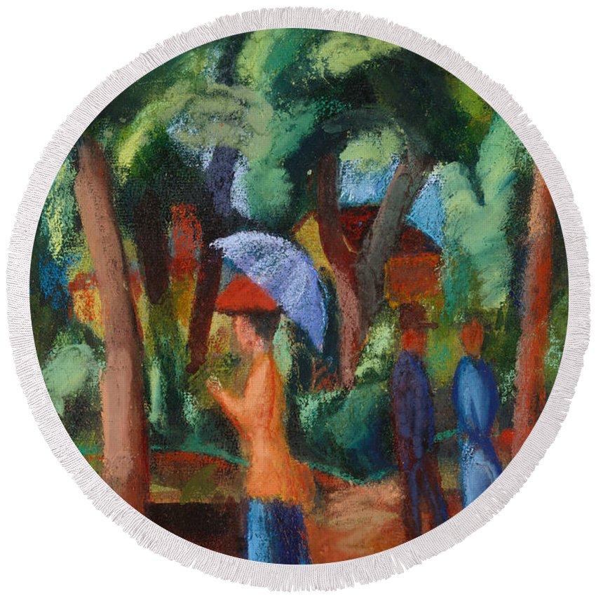 A Stroll In The Park Round Beach Towel featuring the painting A Stroll In The Park by August Macke