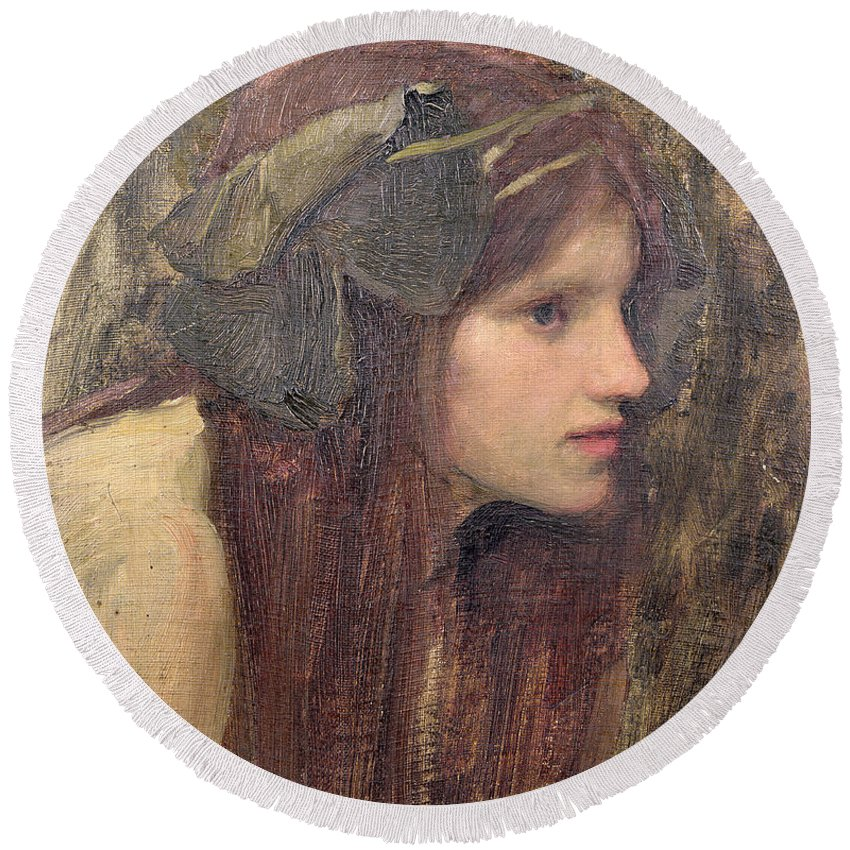 Naiad Round Beach Towel featuring the painting A Study For A Naiad by John William Waterhouse