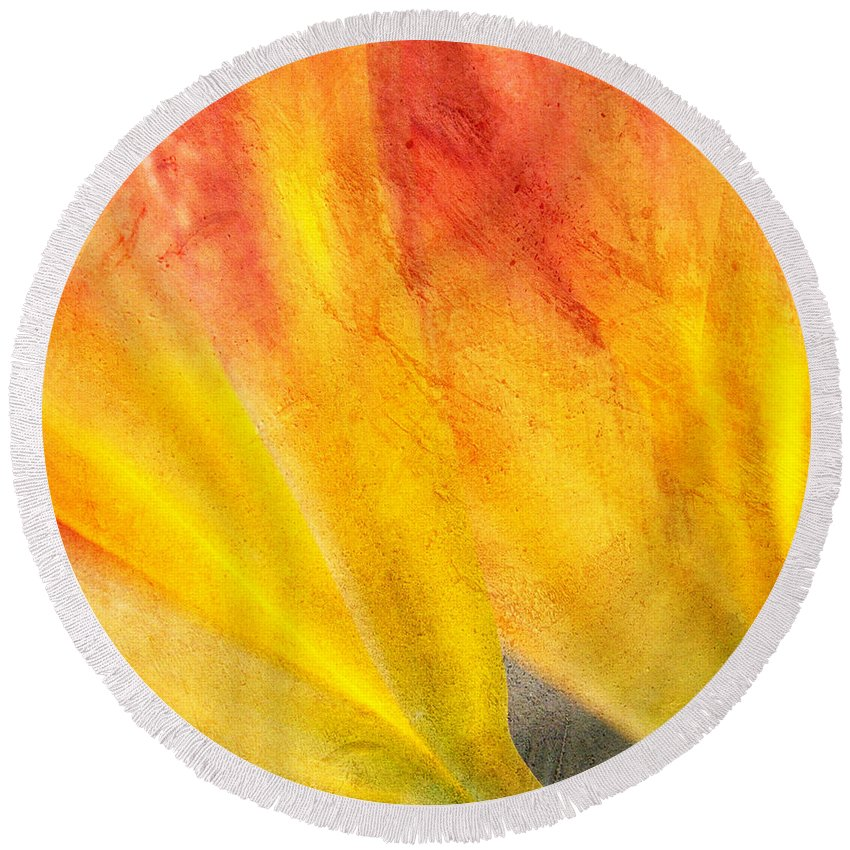 Day Lily Round Beach Towel featuring the photograph A Study In Red And Yellow by Chris Fleming