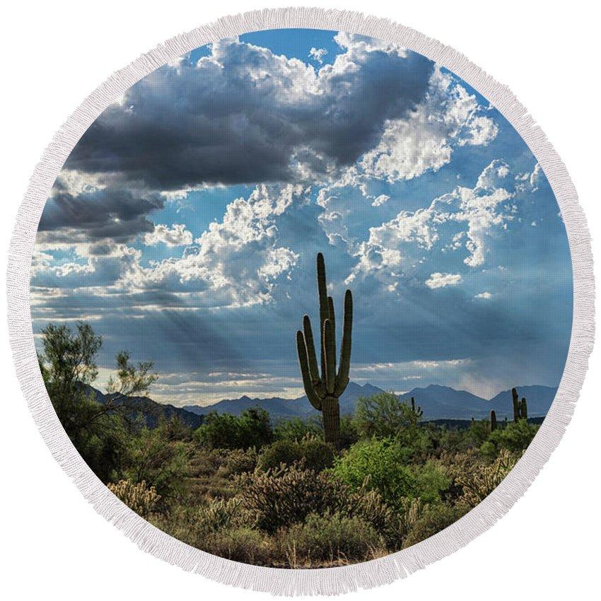 Arizona Round Beach Towel featuring the photograph A Summer Day In The Sonoran by Saija Lehtonen