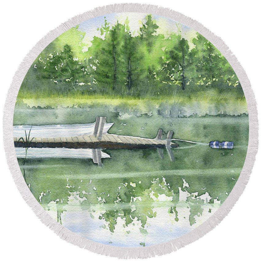A Summer Pond Round Beach Towel featuring the painting A Summer Pond by Melly Terpening