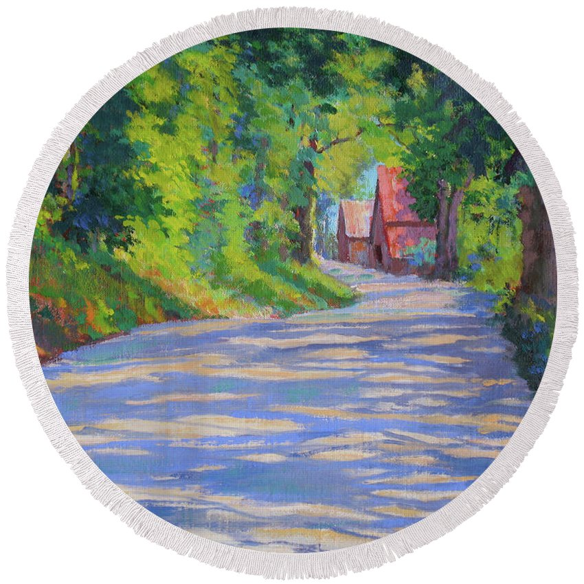 Landscape Round Beach Towel featuring the painting A Summer Road by Keith Burgess