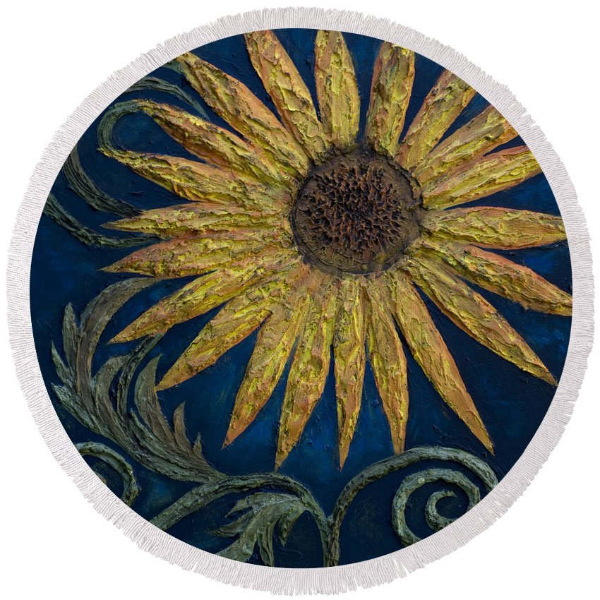 Sunflower Round Beach Towel featuring the painting A Sunflower by Kelly Jade King