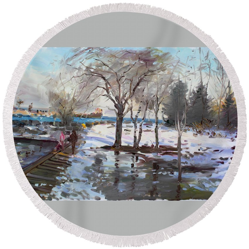 Landscape Round Beach Towel featuring the painting A Sunny Freezing Day by Ylli Haruni