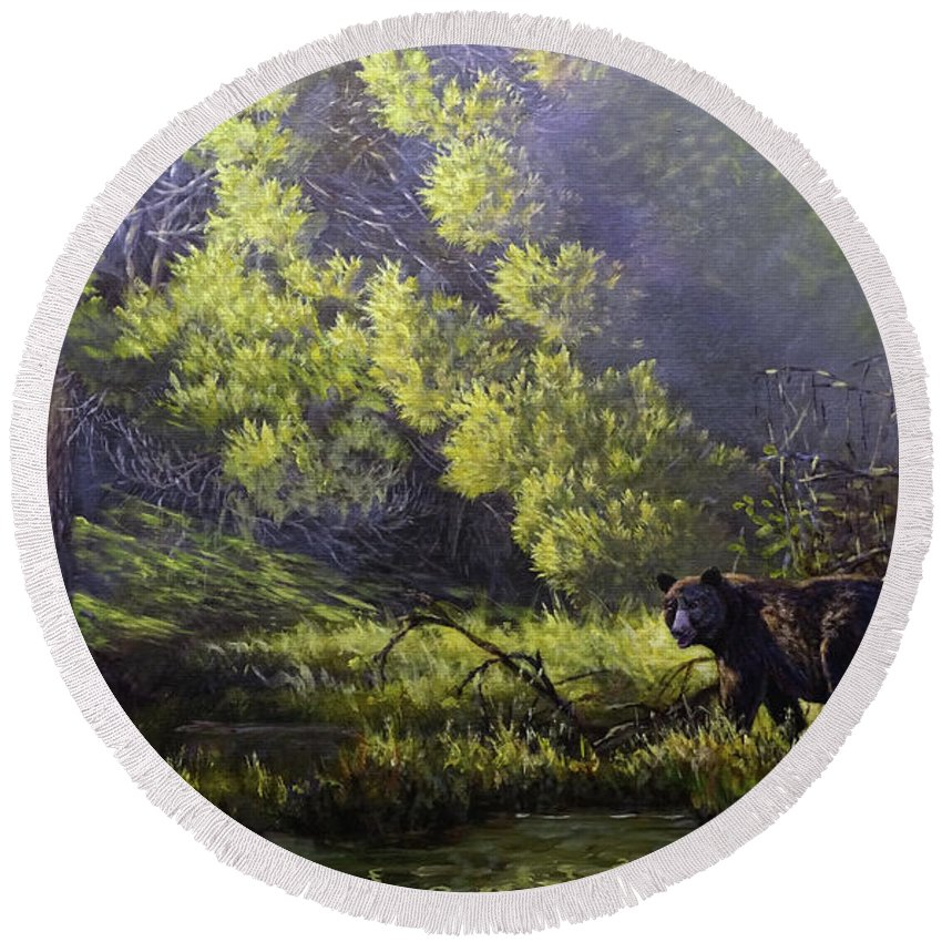 Michigan Brown Bear Round Beach Towel featuring the painting A Sunny Meadow by Valentin Katrandzhiev