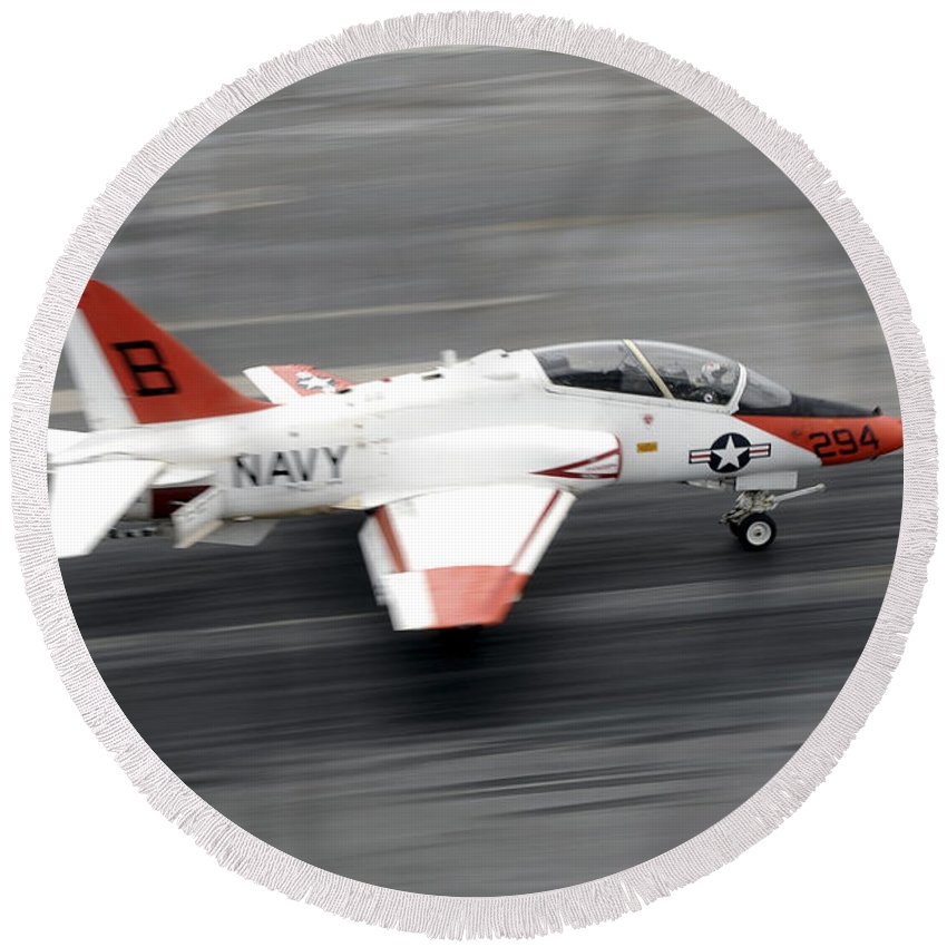 Flight Deck Round Beach Towel featuring the photograph A T-45c Goshawk Training Aircraft Makes by Stocktrek Images