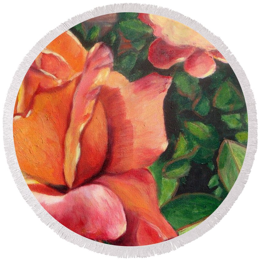 Rose Round Beach Towel featuring the painting A Tale Of Two Roses by Laurie Morgan