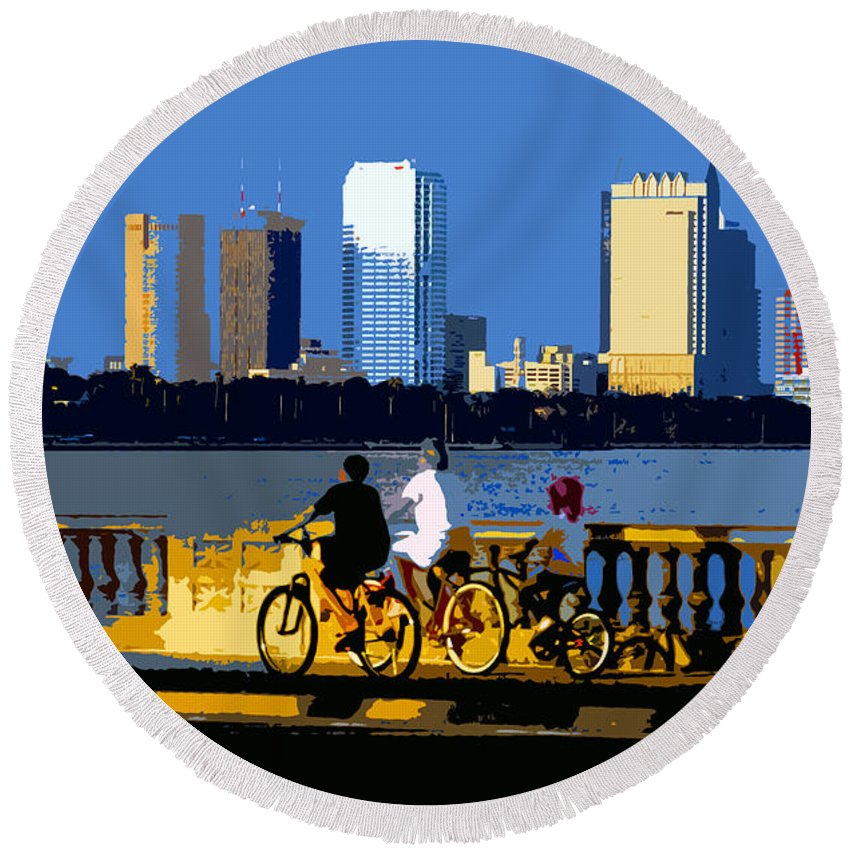 Tampa Bay Florida Round Beach Towel featuring the painting A Tampa Bay Florida Summer by David Lee Thompson
