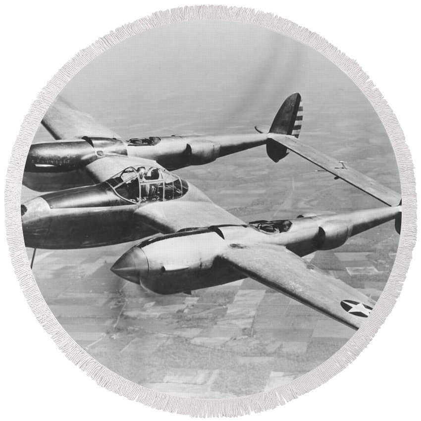 1940s Style Round Beach Towel featuring the photograph A Test Flight Of The Yp-38 Service Test by Stocktrek Images