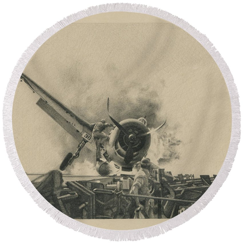 F4u Round Beach Towel featuring the drawing A Time For Courage by Wade Meyers