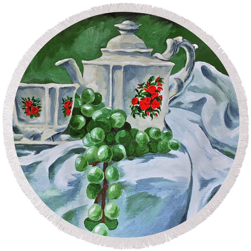 Tea Pots Roses Grapes Round Beach Towel featuring the painting A Time For Tea by Herschel Fall