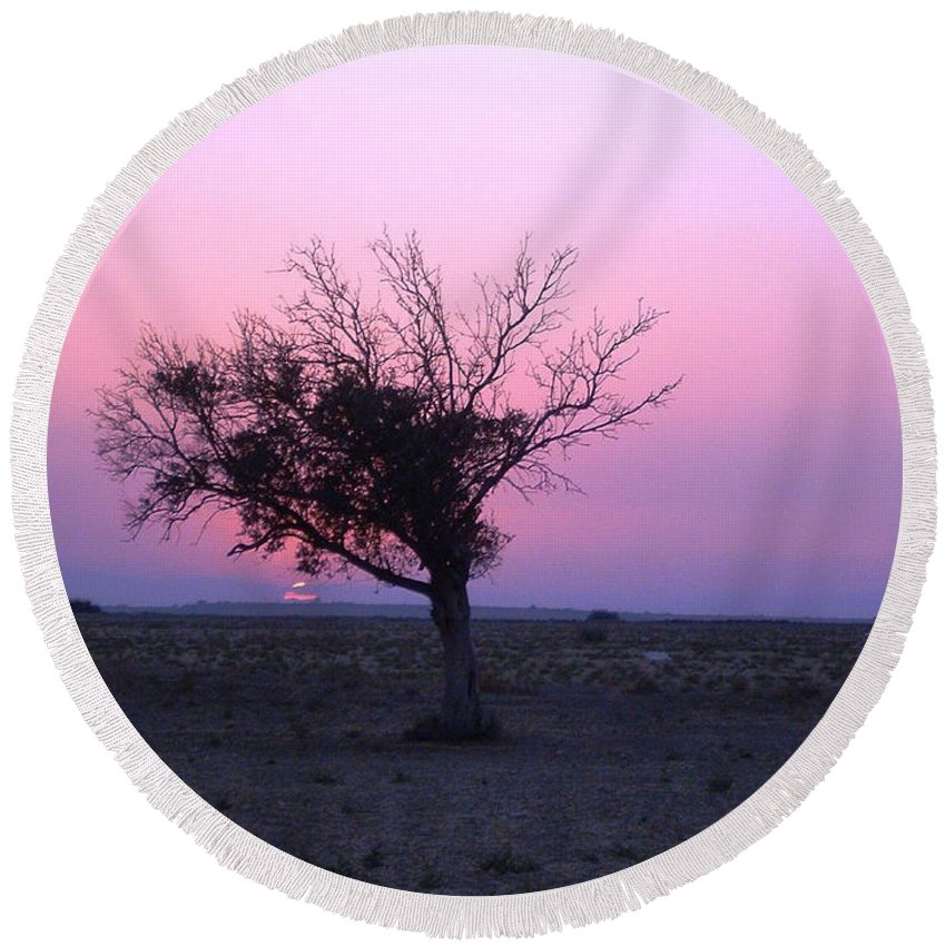 Lone Tree Sunset Purple Sky Desert Isolated Lonely Baron Land Round Beach Towel featuring the photograph A Touch Of Alone by Andrea Lawrence