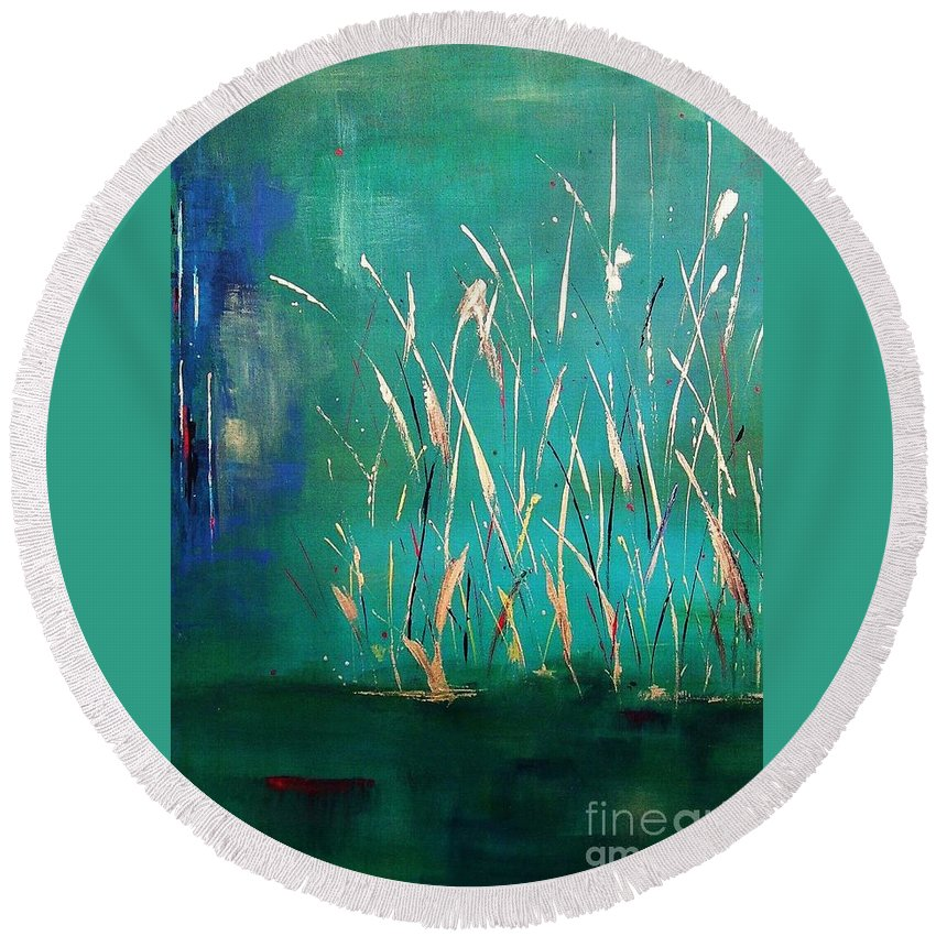 Abstract Landscape Round Beach Towel featuring the painting A Touch Of Teal by Frances Marino