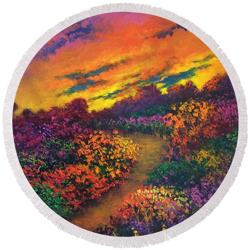 Evening Round Beach Towel featuring the painting A Transparent Darkness 2 by Randy Burns