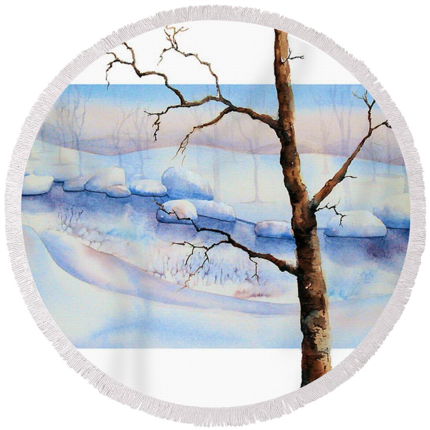 Tree Round Beach Towel featuring the painting A Tree In Another Dimension by Debbie Lewis