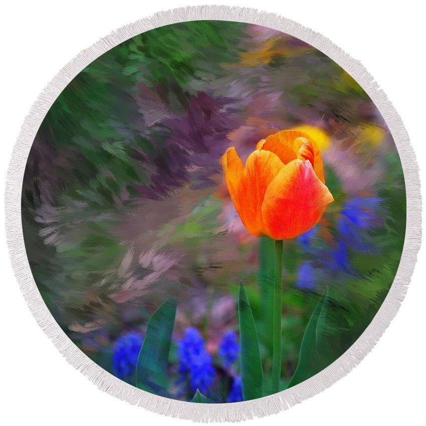 Floral Round Beach Towel featuring the digital art A Tulip Stands Alone by David Lane