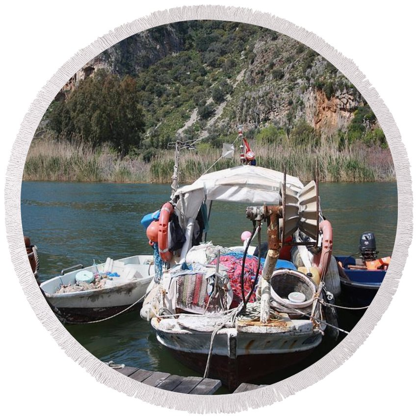 Dalyan Round Beach Towel featuring the photograph A Turkish Fishing Boat On The Dalyan River by Tracey Harrington-Simpson