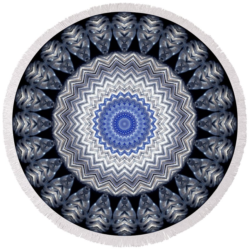 Photograph Round Beach Towel featuring the digital art A Twist Of Silver 2 by Wendy Wilton
