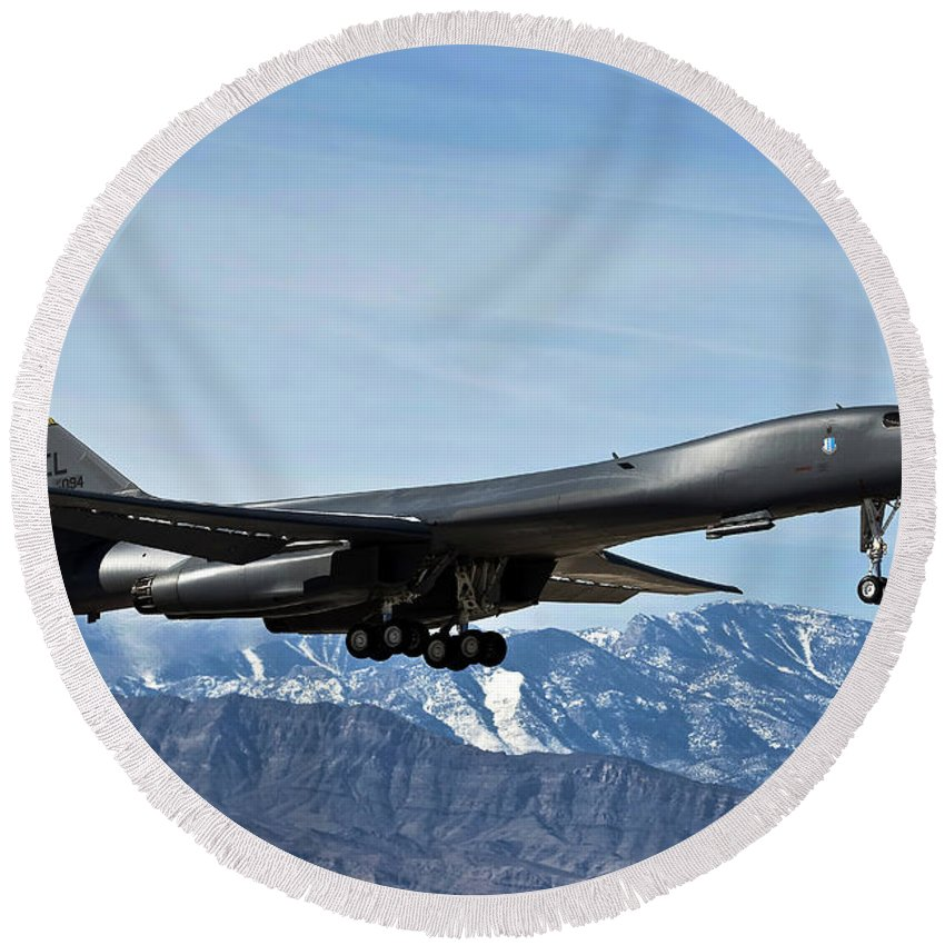 Nellis Air Force Base Round Beach Towel featuring the photograph A U.s. Air Force B-1b Lancer Departs by Stocktrek Images