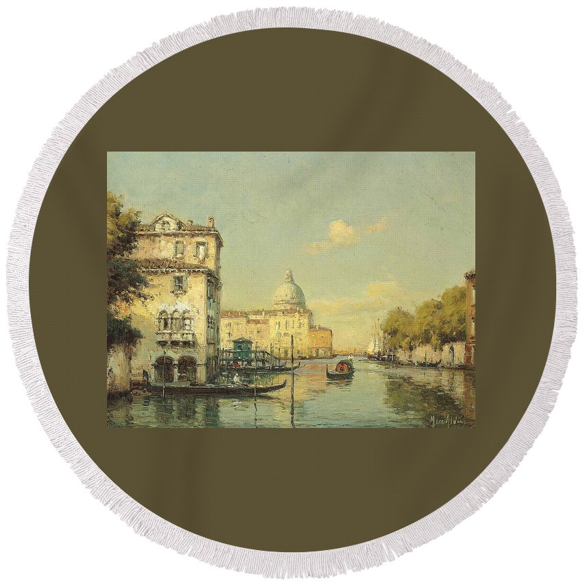 Noel Georges Bouvard (french Round Beach Towel featuring the painting A Venetian Canal by MotionAge Designs