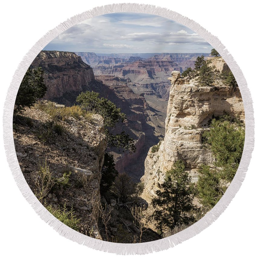 Grand Canyon Round Beach Towel featuring the photograph A Vertical View - Grand Canyon by Belinda Greb