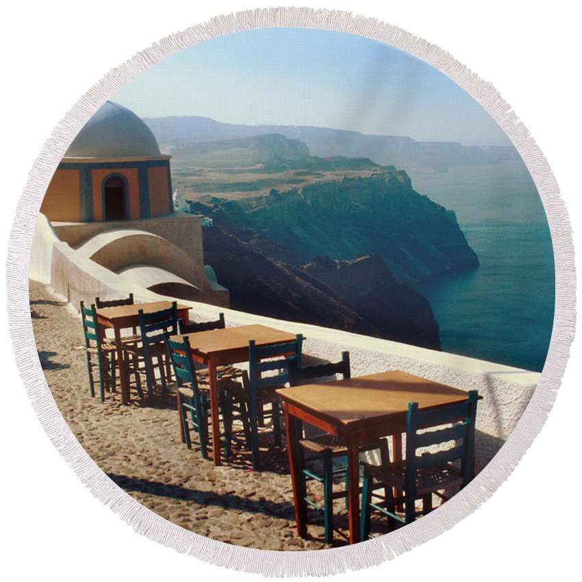 Greece Round Beach Towel featuring the photograph A View From Firostefani by Yuri Lev