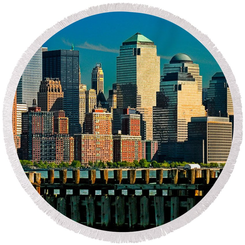 Manhattan Round Beach Towel featuring the photograph A View From Hoboken by Chris Lord
