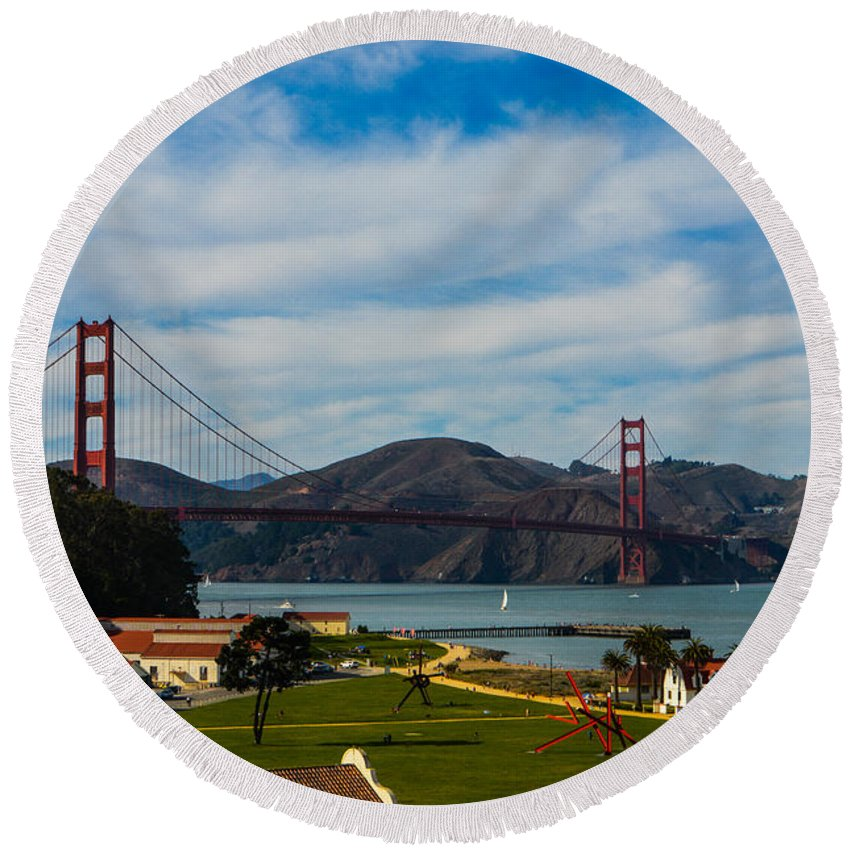 San Francisco Round Beach Towel featuring the photograph A View From The Presideo by Tommy Anderson