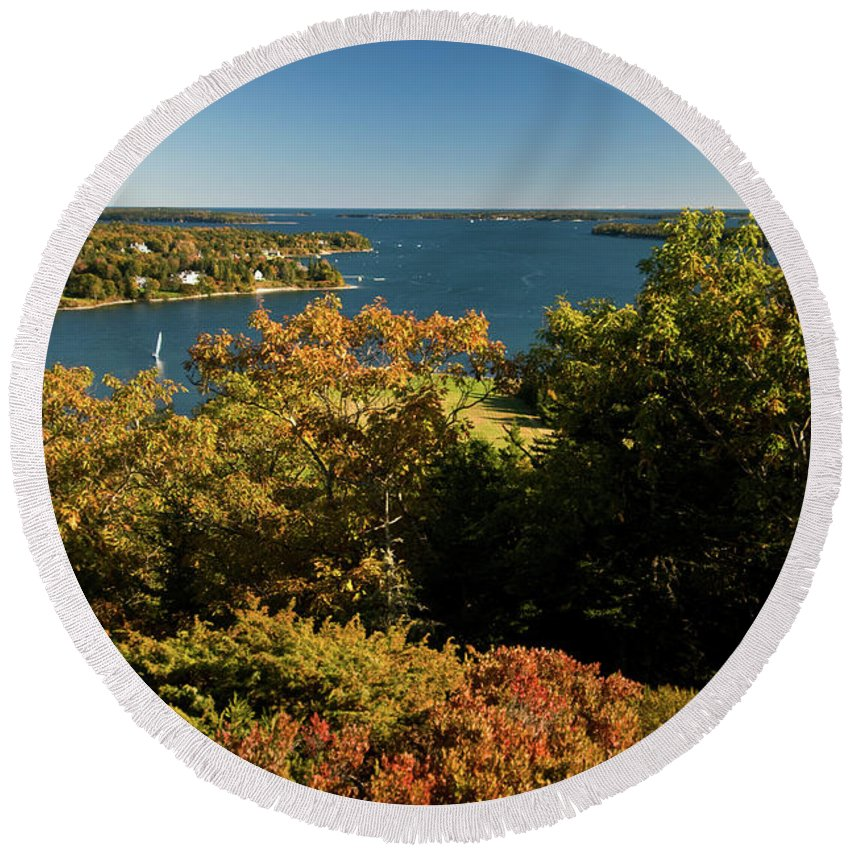 acadia National Park Round Beach Towel featuring the photograph A View From The Top by Paul Mangold