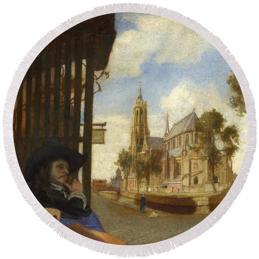 Carel Fabritius Round Beach Towel featuring the painting A View Of Delft With A Musical Instrument Seller's Stall by Carel Fabritius