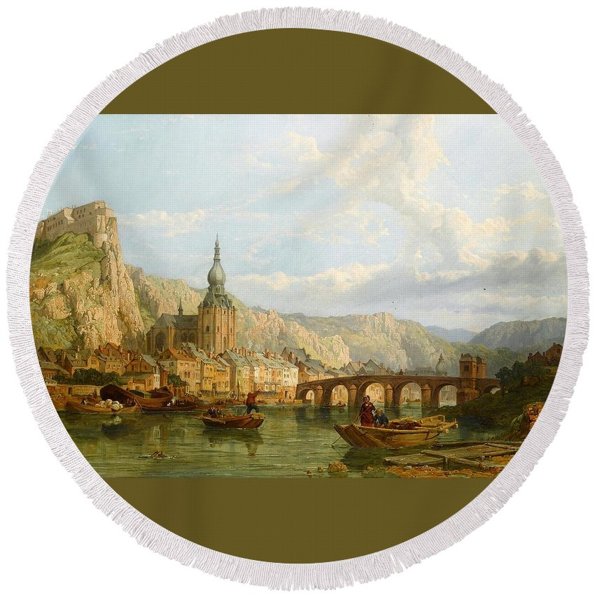 George Clarkson Stanfield (london 1828 - London 1878) Round Beach Towel featuring the painting A View Of Dinant by George Clarkson Stanfield