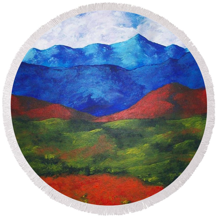Art & Collectibles Painting Acrylic White Blue Green Red Pink Yellow Orange Art Adirondack Mountains Upstate New York State Park Ny Landscape Colorful Bright Sky Nature Art Autumn Fall Wilderness Round Beach Towel featuring the painting A View Of The Blue Mountains Of The Adirondacks by Mike Kraus