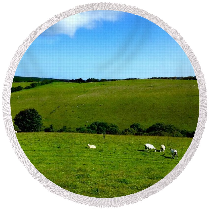 Exmoor Round Beach Towel featuring the photograph A View Over Exmoor 2 by Joan-Violet Stretch